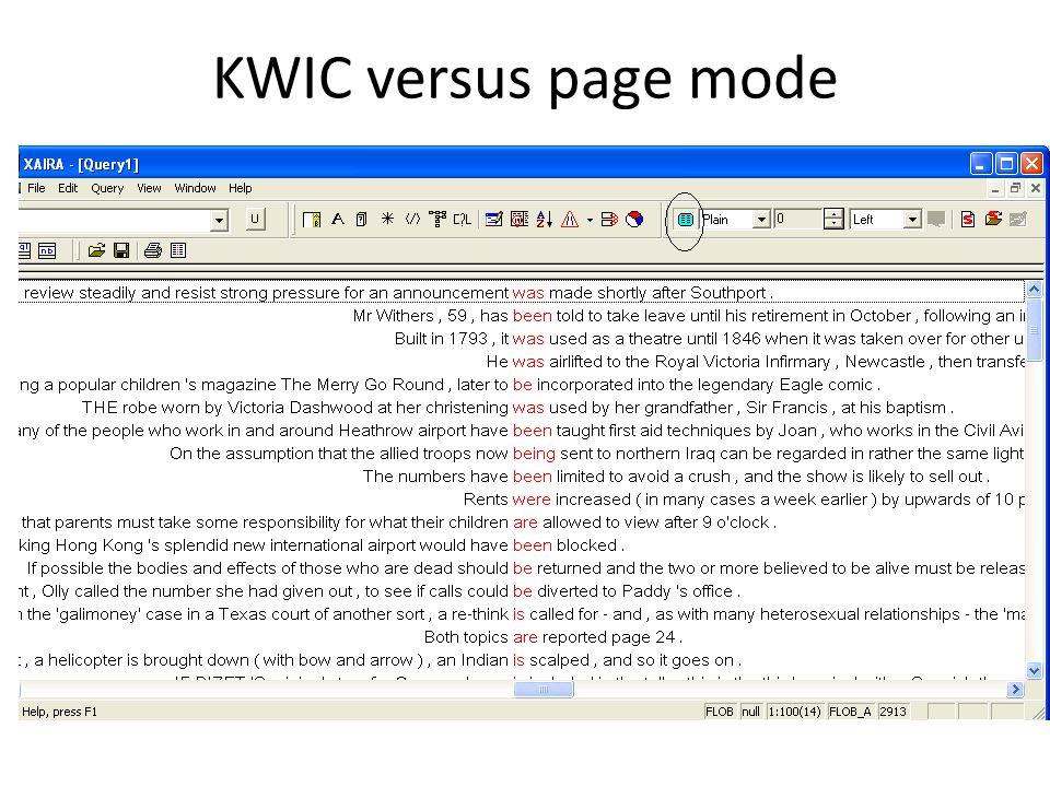 KWIC versus page mode