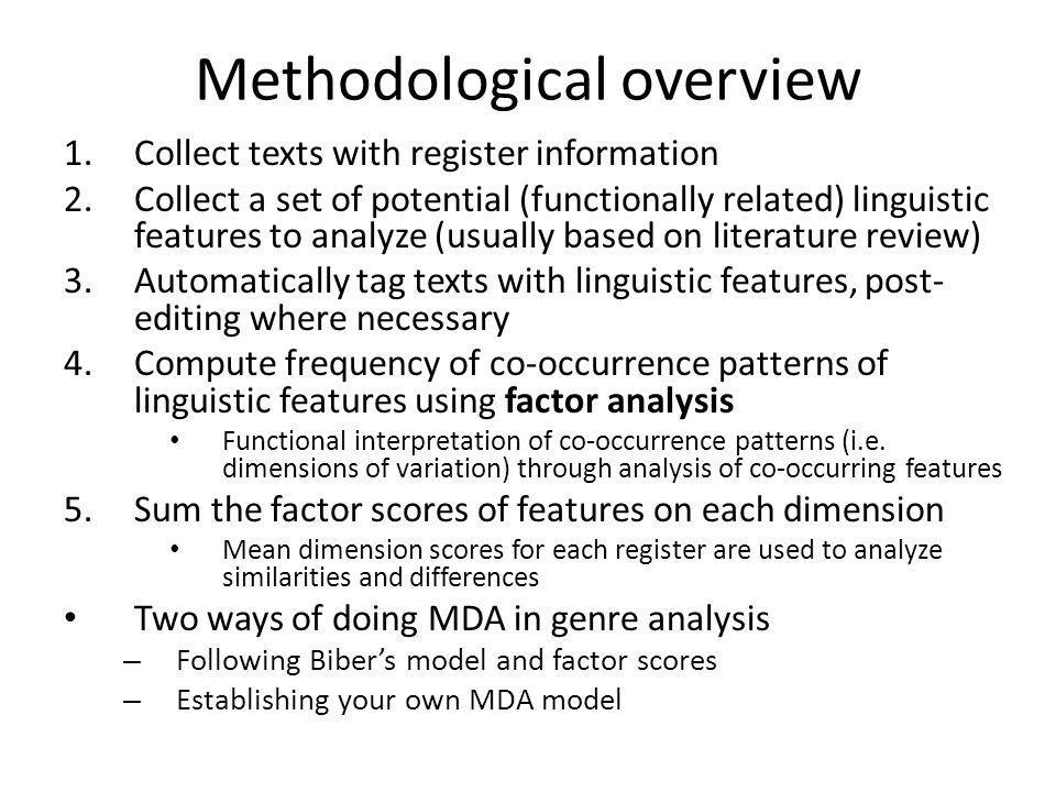 Methodological overview