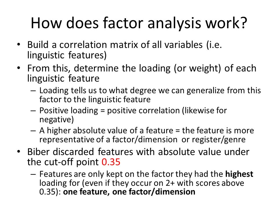 How does factor analysis work