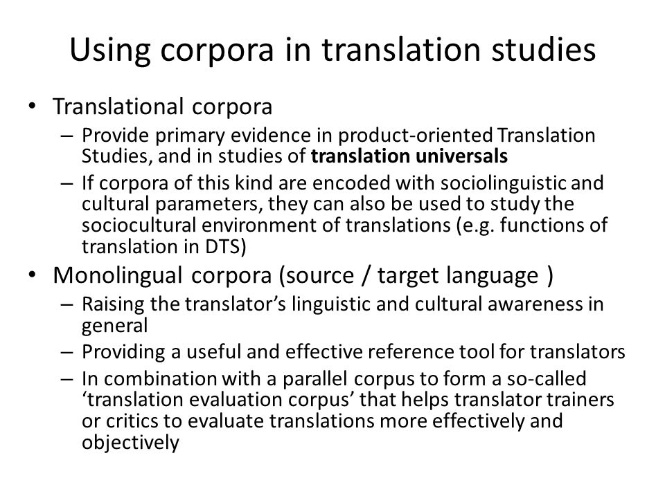 Using corpora in translation studies