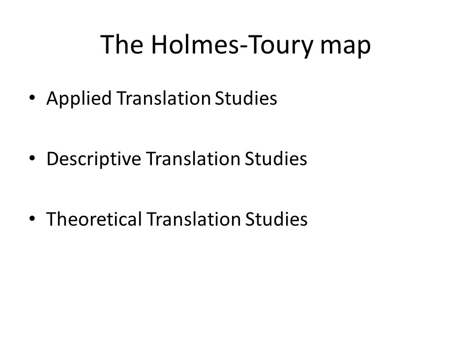 The Holmes-Toury map Applied Translation Studies