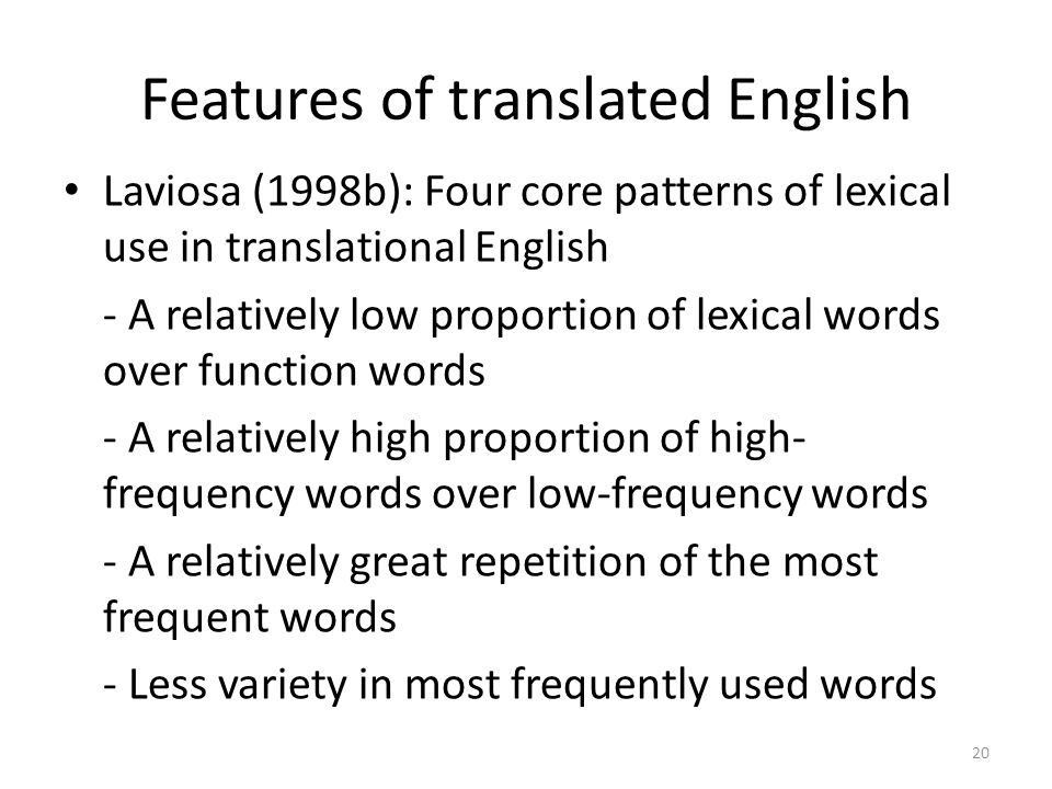 Features of translated English