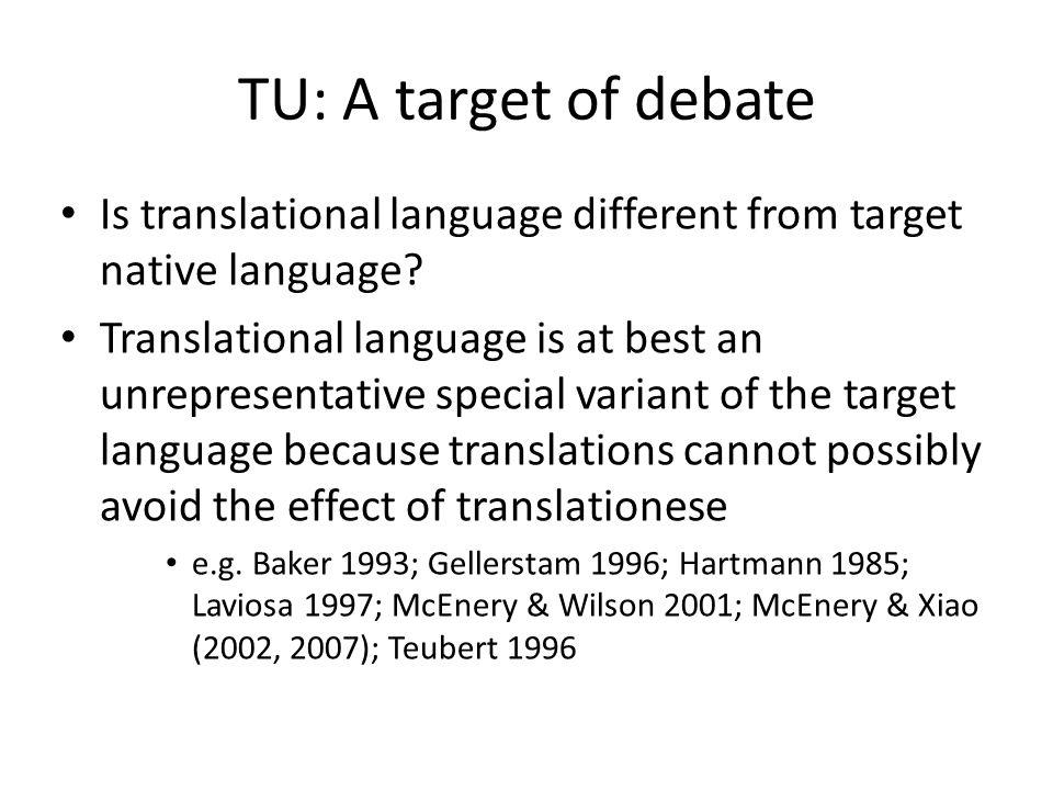 TU: A target of debate Is translational language different from target native language