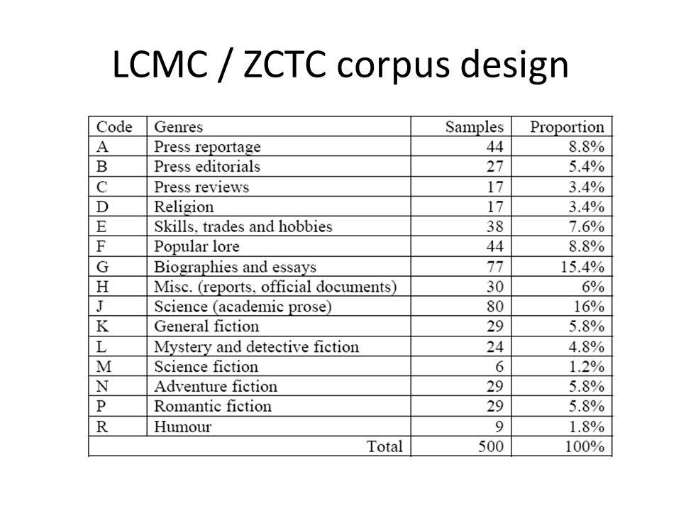 LCMC / ZCTC corpus design