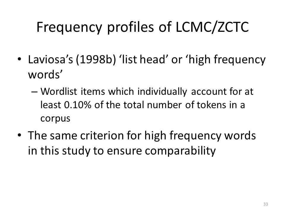 Frequency profiles of LCMC/ZCTC