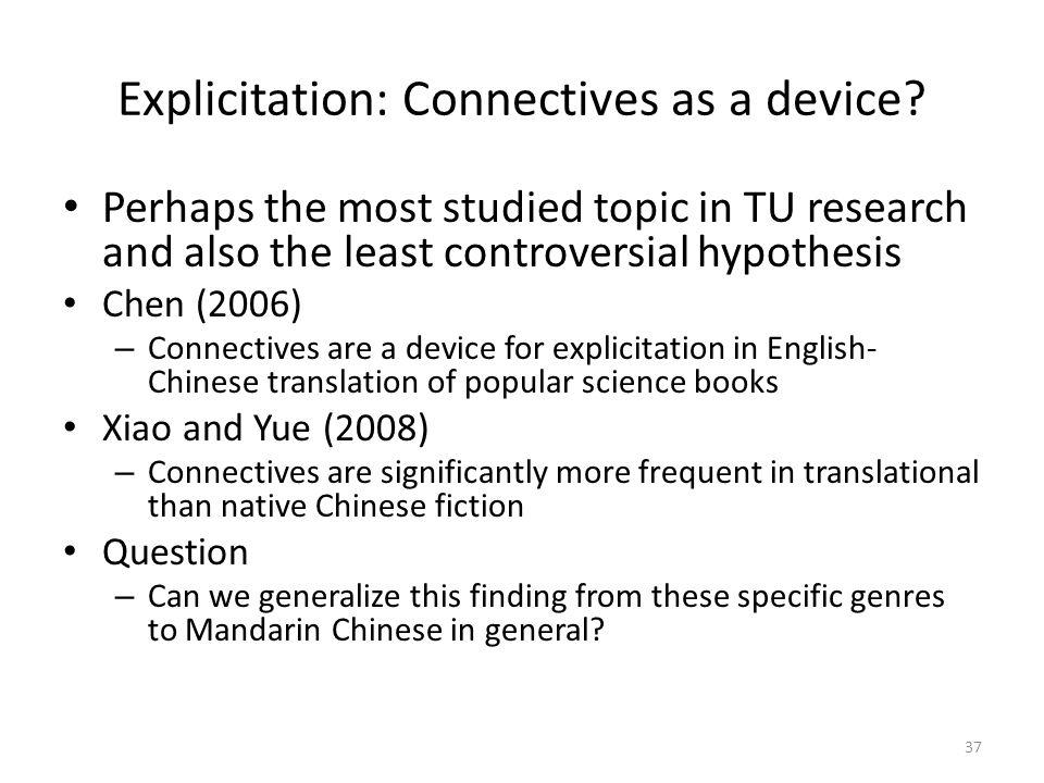 Explicitation: Connectives as a device