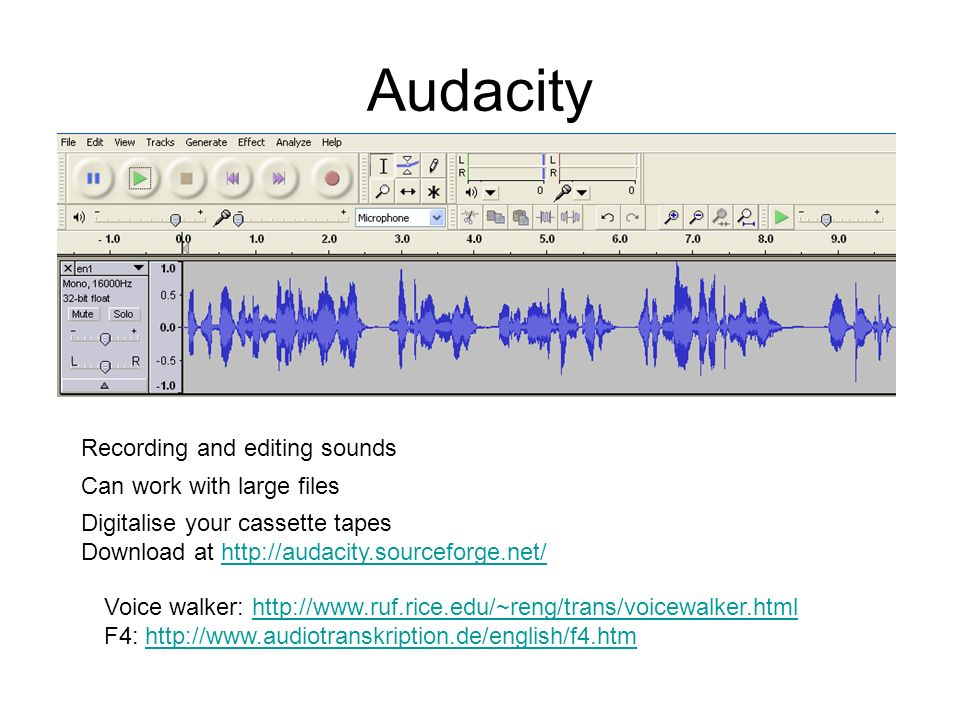 Audacity Recording and editing sounds Can work with large files