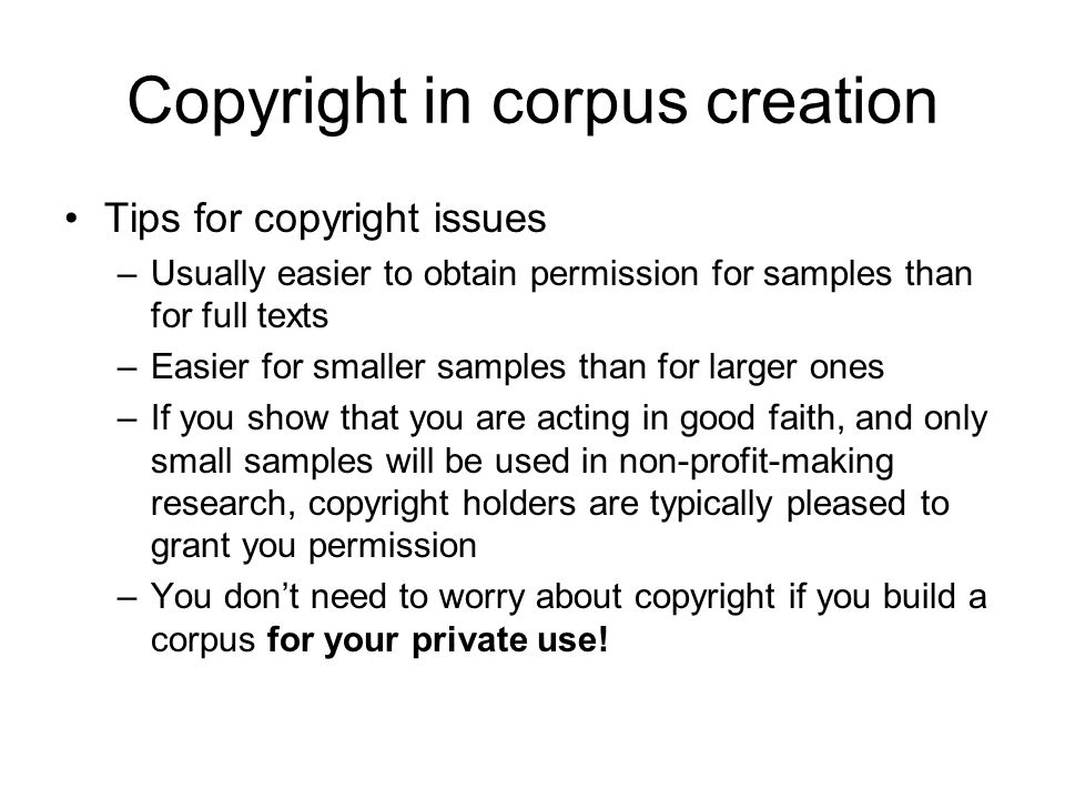 Copyright in corpus creation