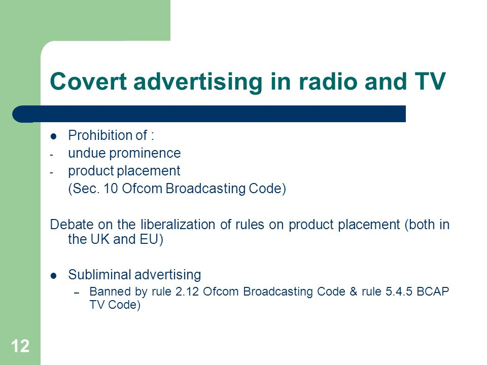Covert advertising in radio and TV