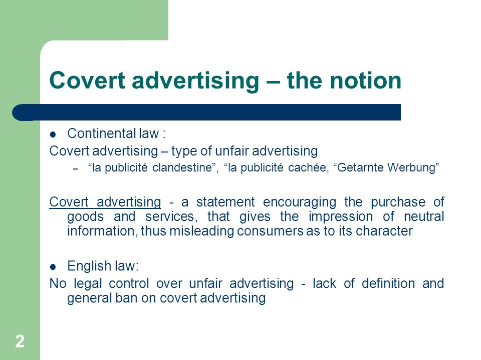 Covert advertising – the notion