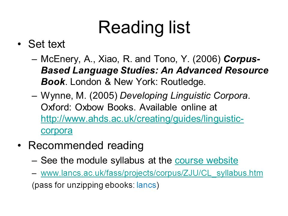 Reading list Set text Recommended reading