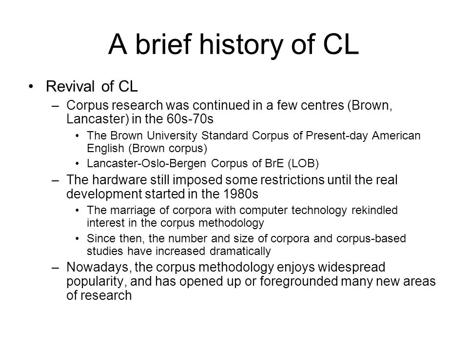 A brief history of CL Revival of CL