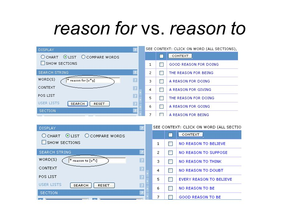 reason for vs. reason to