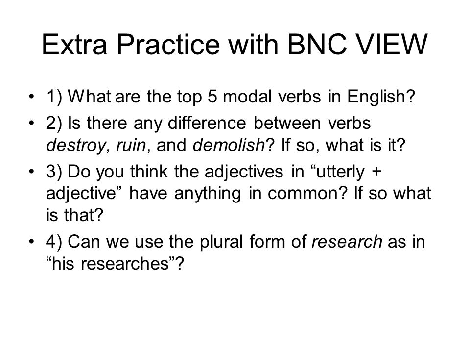 Extra Practice with BNC VIEW