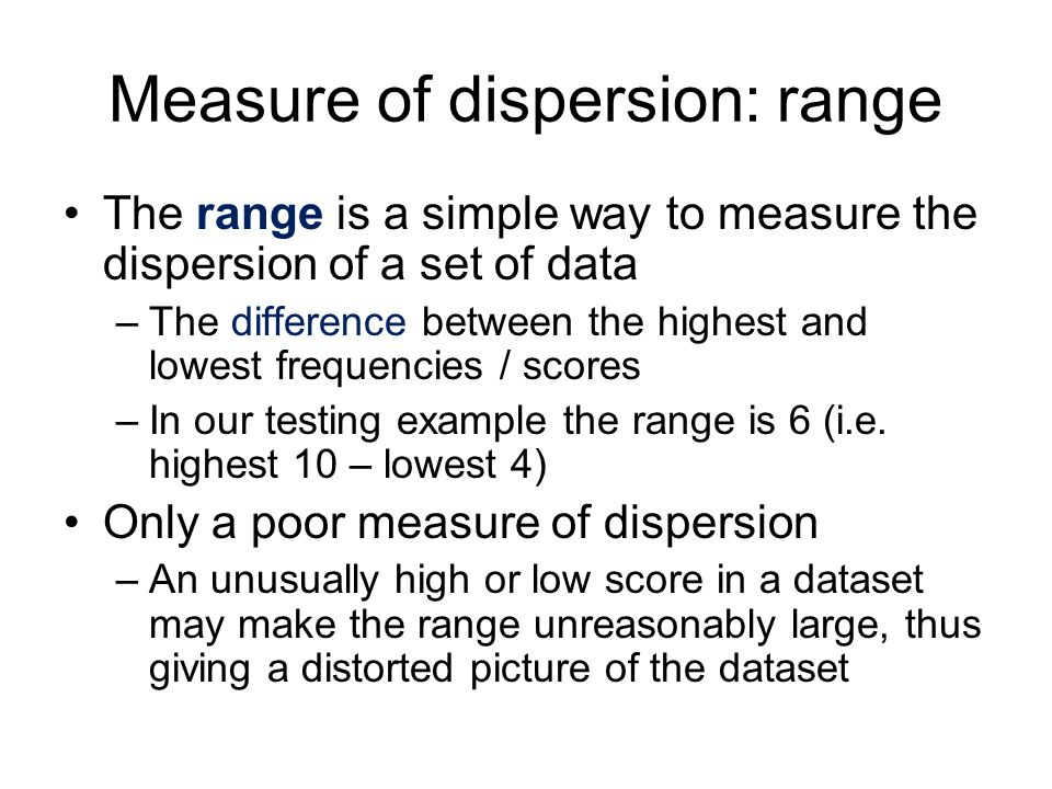 Measure of dispersion: range