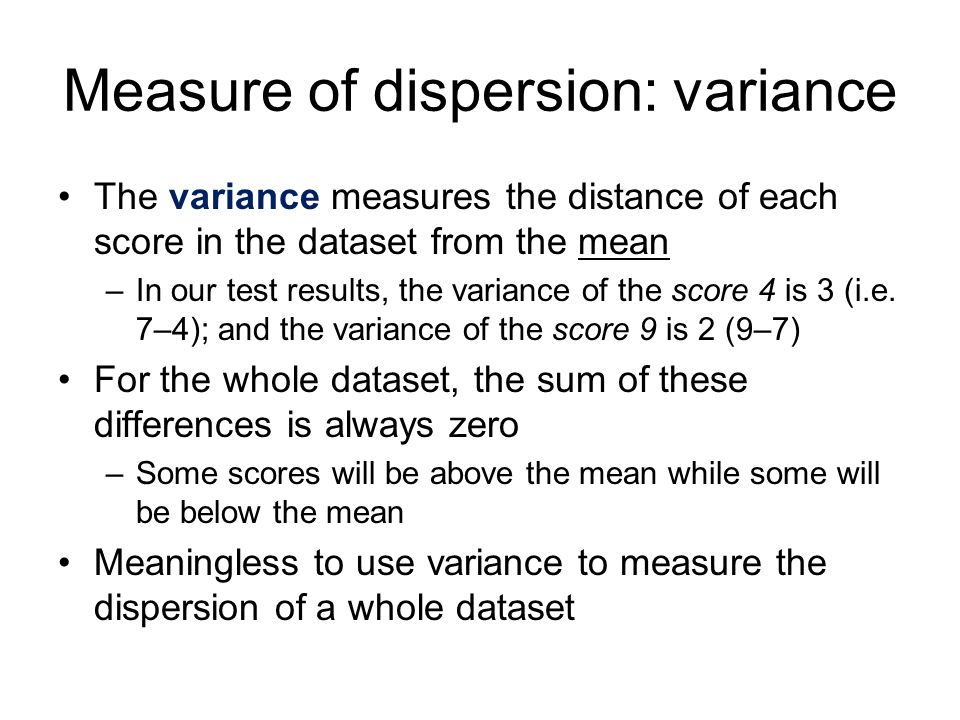 Measure of dispersion: variance