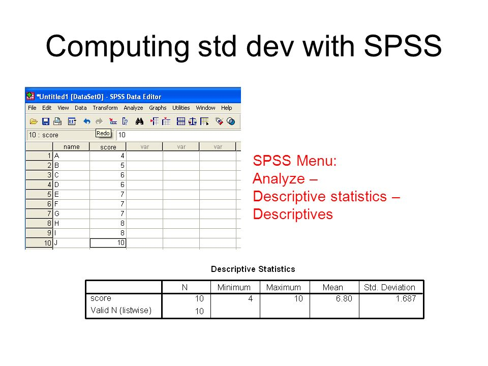 Computing std dev with SPSS