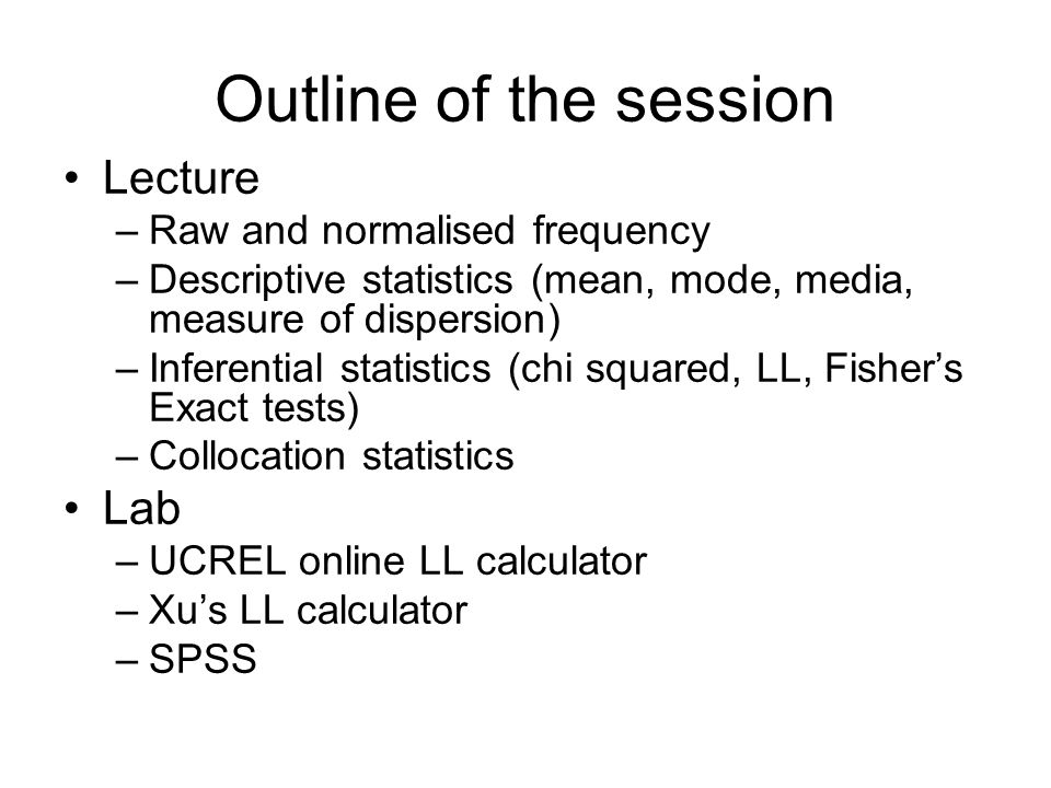 Outline of the session Lecture Lab Raw and normalised frequency
