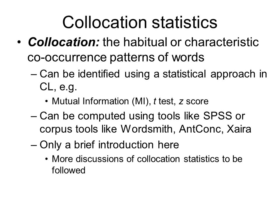 Collocation statistics