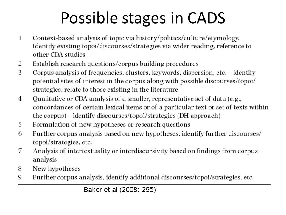 Possible stages in CADS