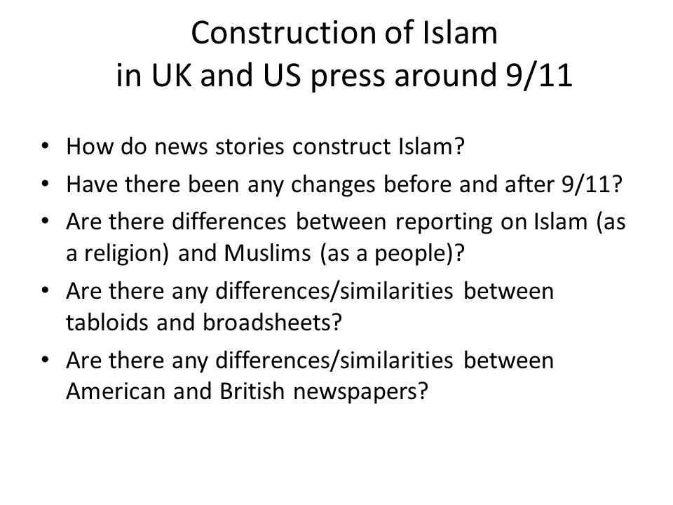 Construction of Islam in UK and US press around 9/11
