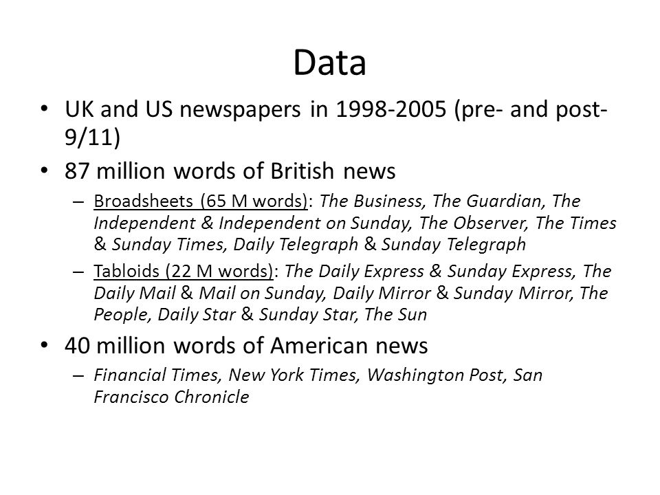 Data UK and US newspapers in 1998-2005 (pre- and post-9/11)