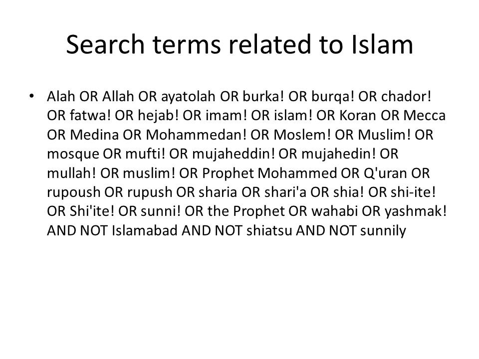 Search terms related to Islam
