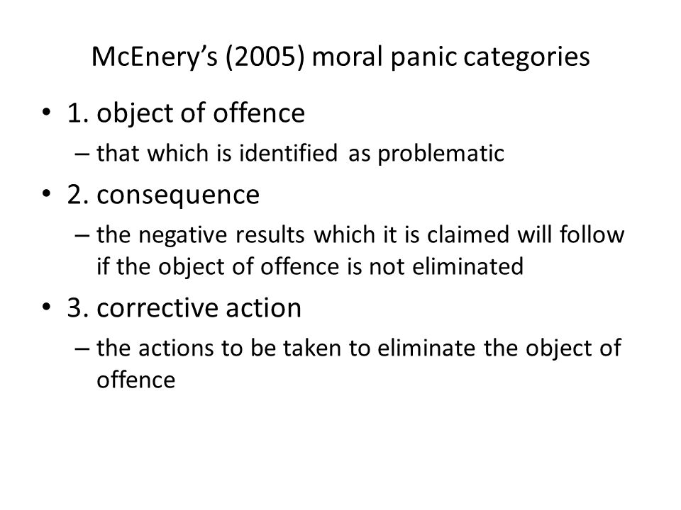 McEnery's (2005) moral panic categories