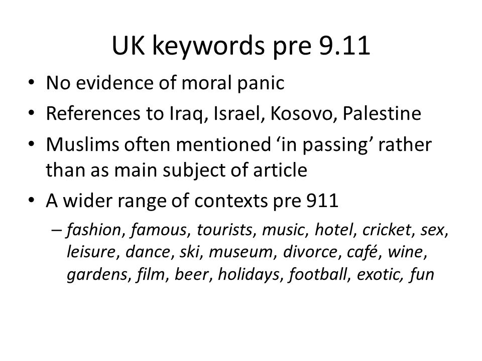 UK keywords pre 9.11 No evidence of moral panic