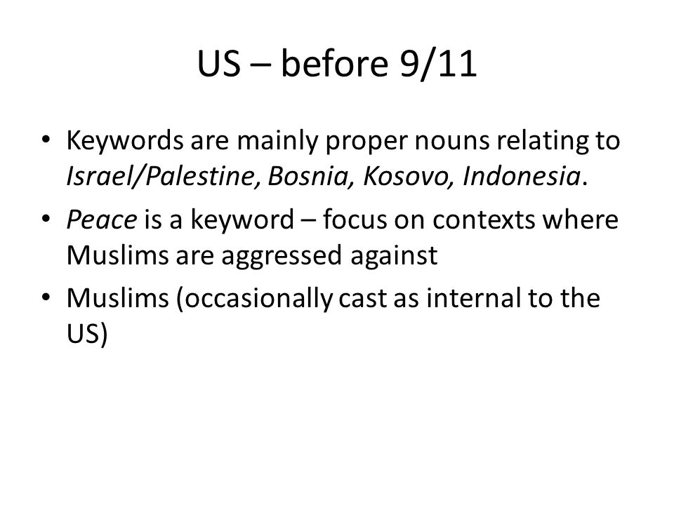 US – before 9/11 Keywords are mainly proper nouns relating to Israel/Palestine, Bosnia, Kosovo, Indonesia.