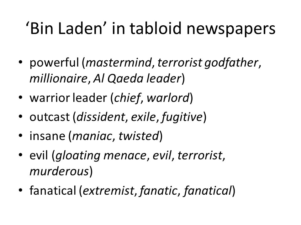 'Bin Laden' in tabloid newspapers