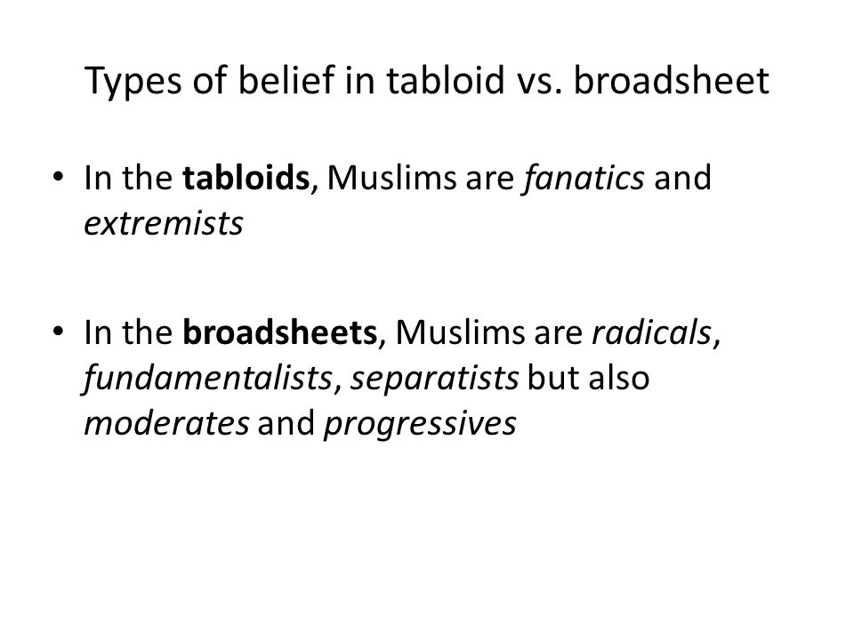 Types of belief in tabloid vs. broadsheet