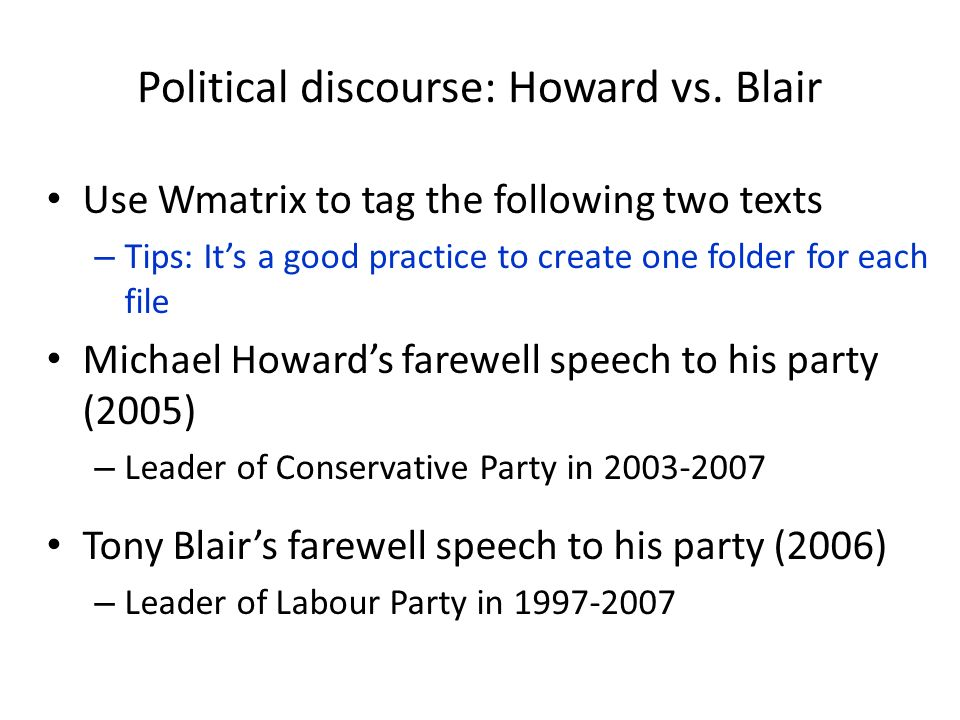 Political discourse: Howard vs. Blair