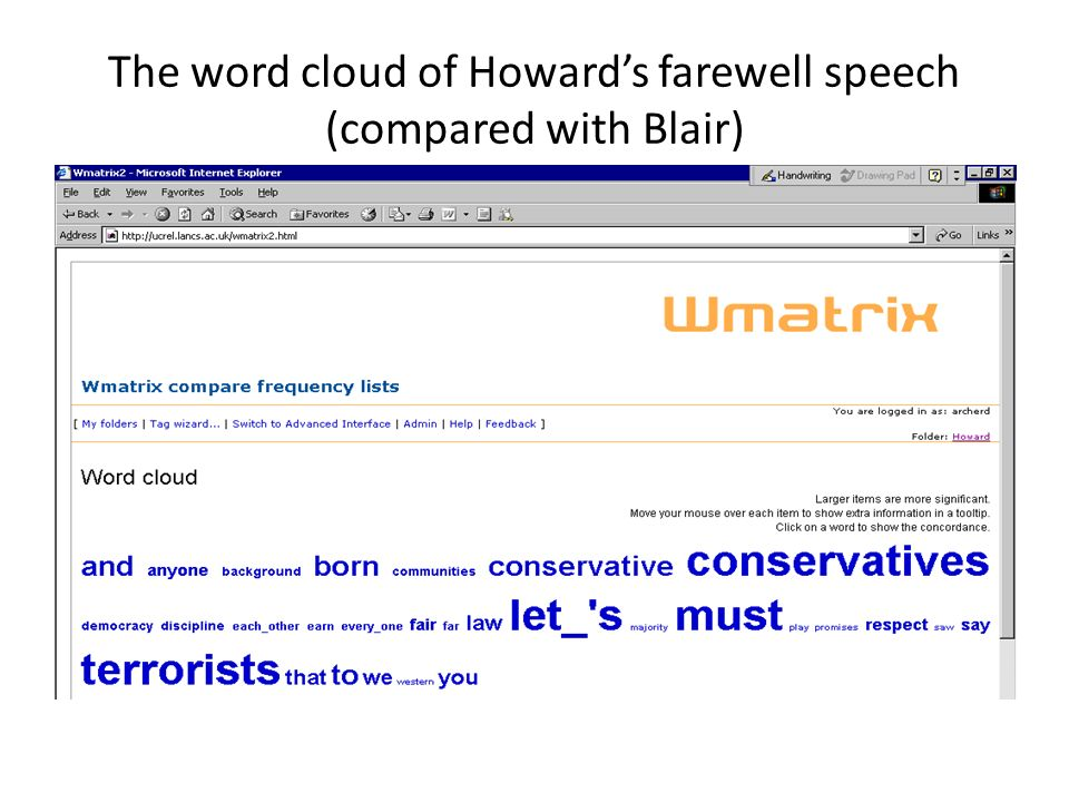 The word cloud of Howard's farewell speech (compared with Blair)