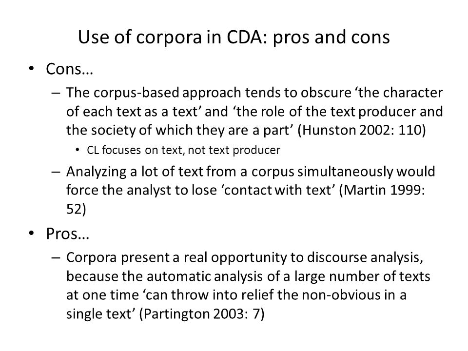 Use of corpora in CDA: pros and cons