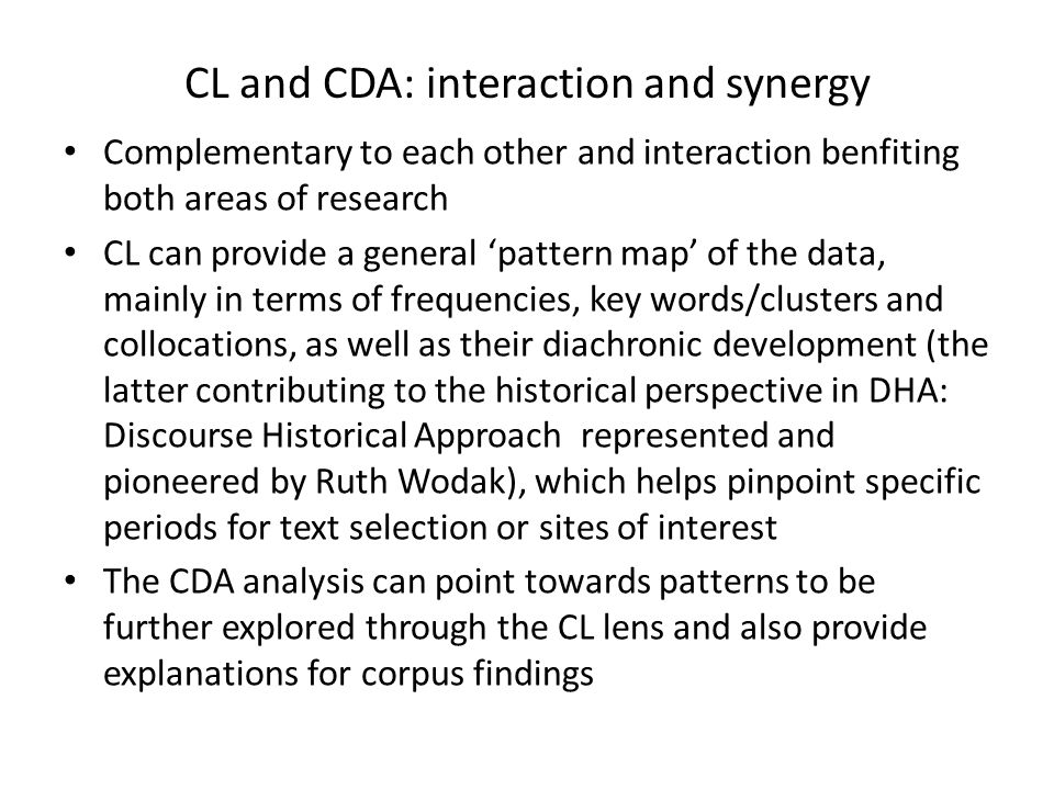 CL and CDA: interaction and synergy