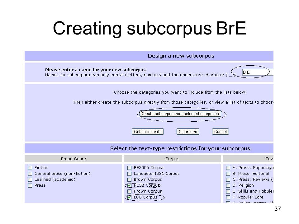 Creating subcorpus BrE