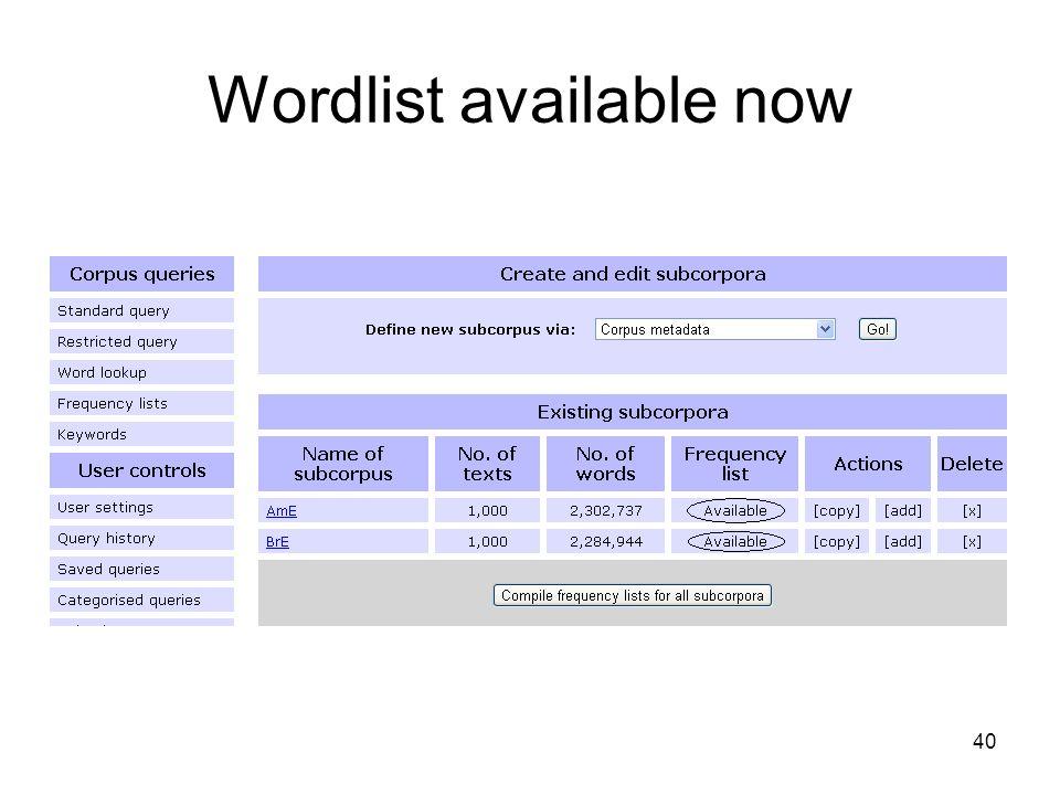 Wordlist available now