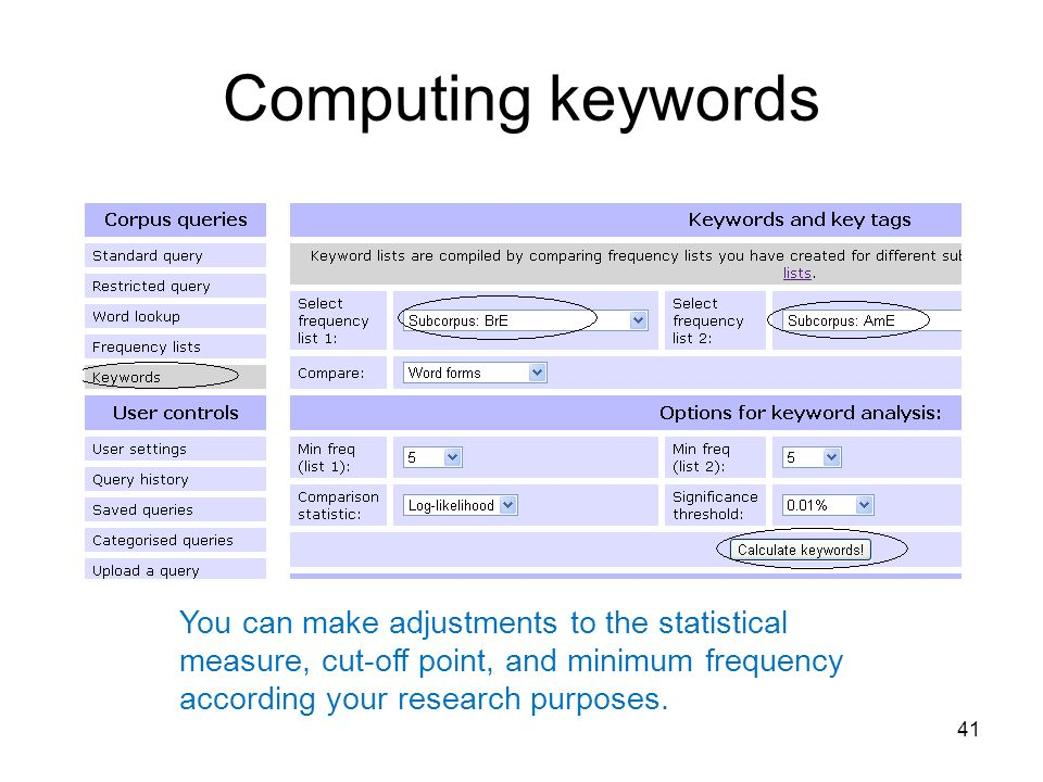 Computing keywords You can make adjustments to the statistical measure, cut-off point, and minimum frequency according your research purposes.