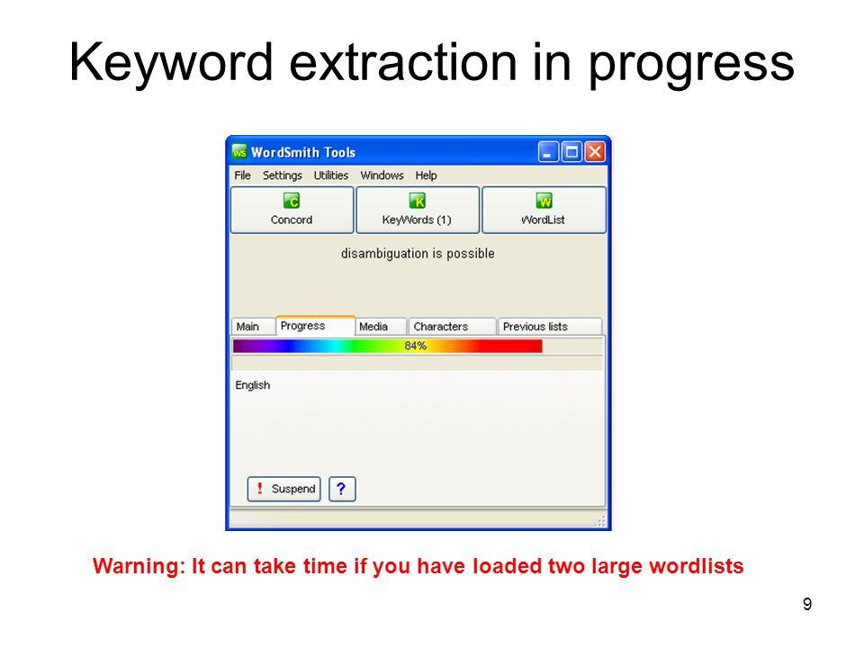 Keyword extraction in progress