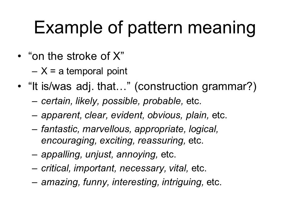 Example of pattern meaning