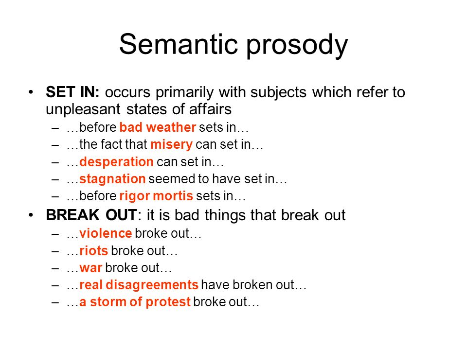 Semantic prosodySET IN: occurs primarily with subjects which refer to unpleasant states of affairs.