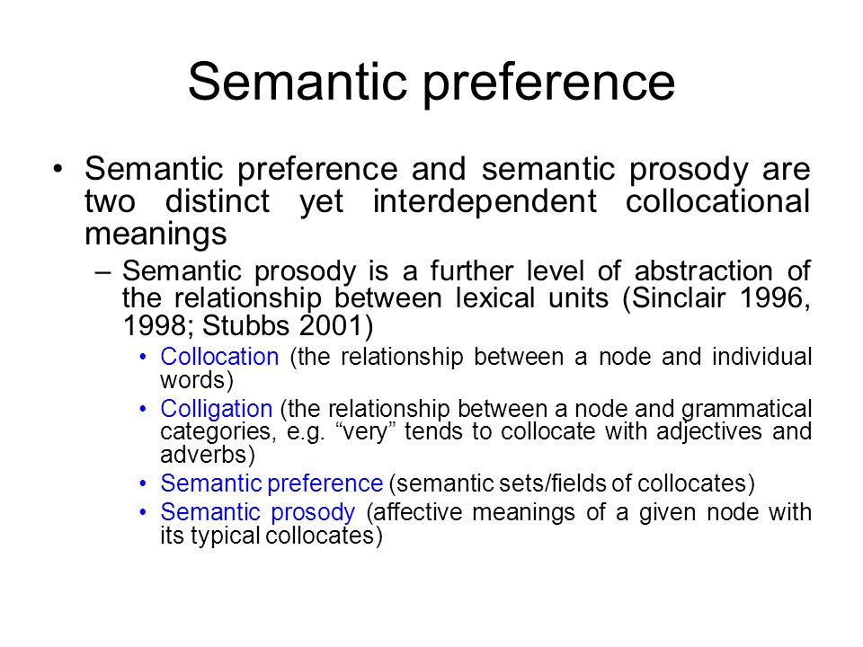 Semantic preference Semantic preference and semantic prosody are two distinct yet interdependent collocational meanings.