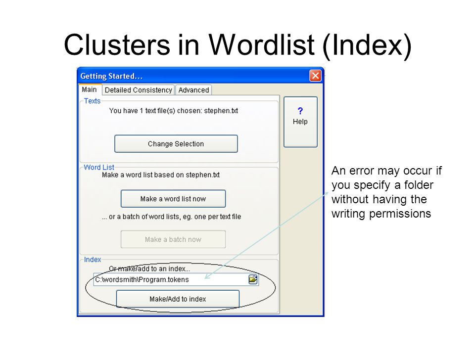 Clusters in Wordlist (Index)