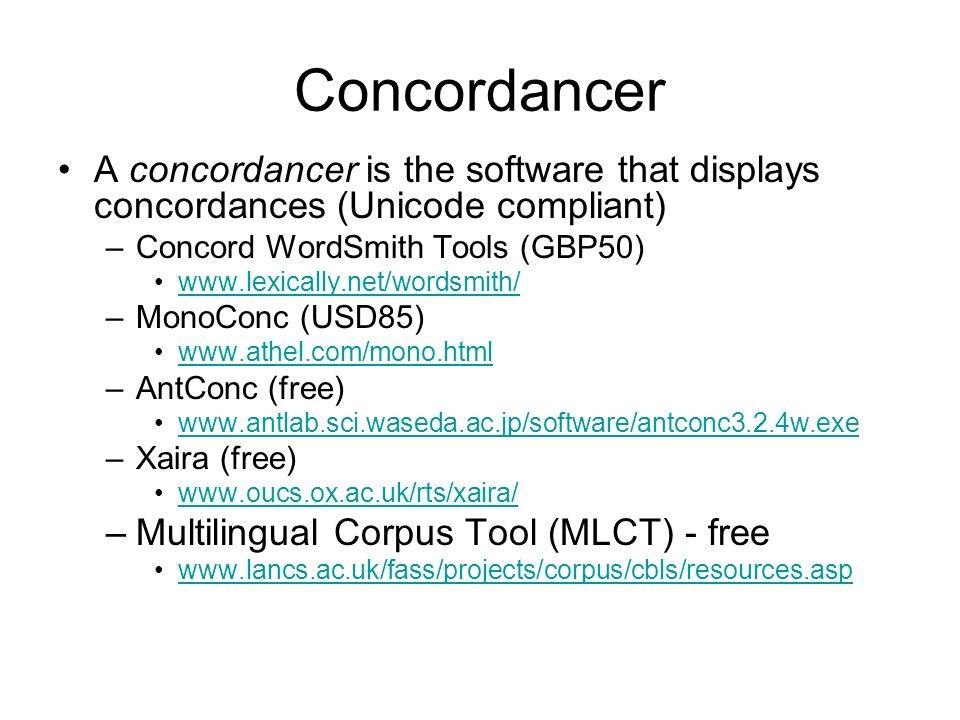 ConcordancerA concordancer is the software that displays concordances (Unicode compliant) Concord WordSmith Tools (GBP50)