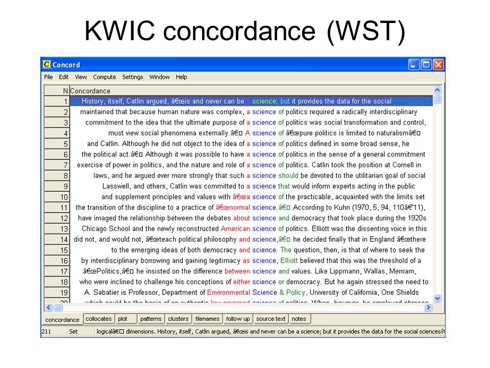 KWIC concordance (WST)
