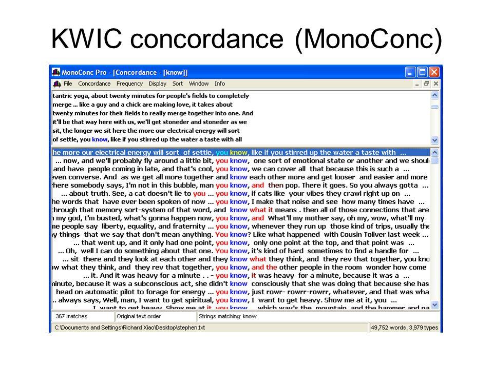 KWIC concordance (MonoConc)