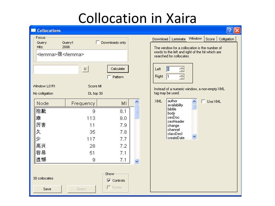 Collocation in Xaira