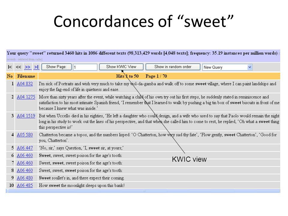 Concordances of sweet