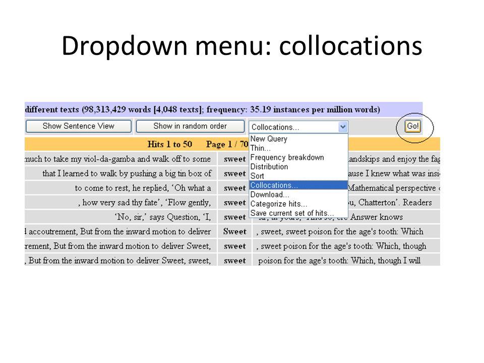 Dropdown menu: collocations
